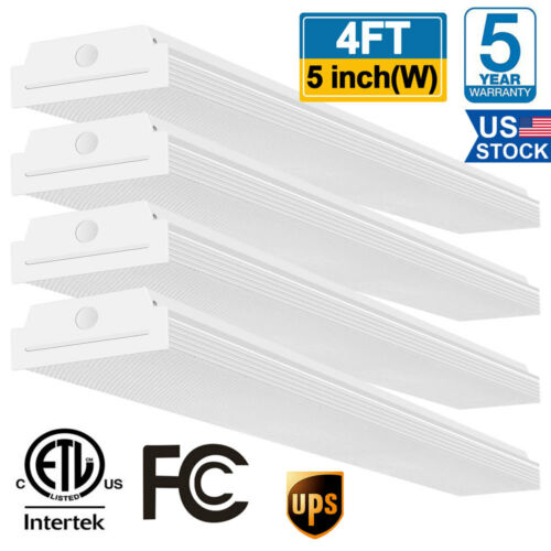4FT LED Wraparound Garage Shop Lights 40W 4400lm 4000K Fluorescent Light 4 Pack