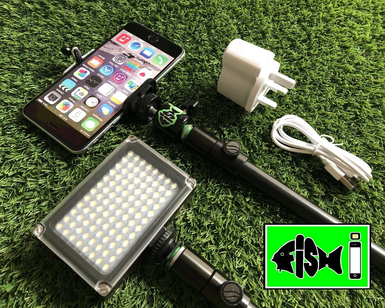 Phone Holder With Rechargeable 96 Led Selfie Video Light For Night Fishing. Carp