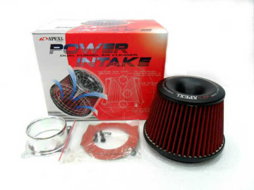 Apexi Type 3 Inlet Power Air Intake Red Racing Cone Air Filter Free Flange