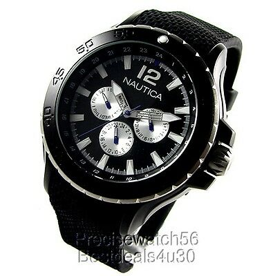 New Nautica Aluminum Case Yachting Collection Black rubber strap day date Watch