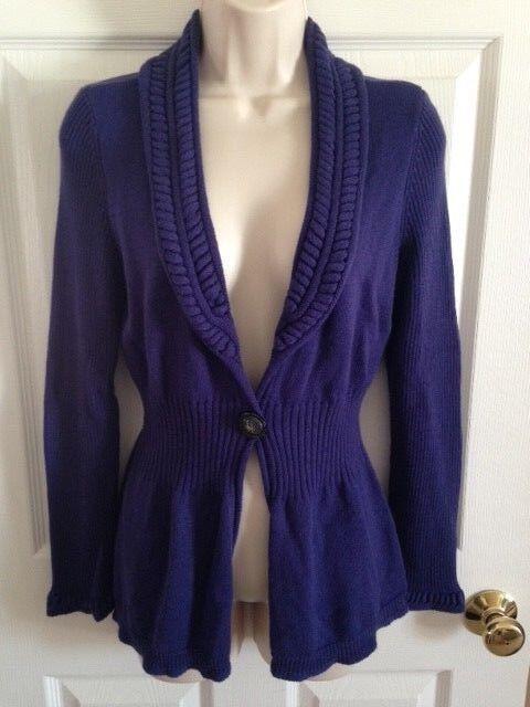 NIC + ZOE Purple Open Button Long Sleeve Cardigan Sweater, Small