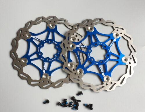 2x Snail MTB XC DH Mountain bike Brake Disc Floating Rotor 160mm Rotors Blue