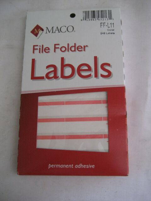 248 qty File Folder Labels Stickers Coral Maco FF-L11 1//3 Cut Typewriter Color