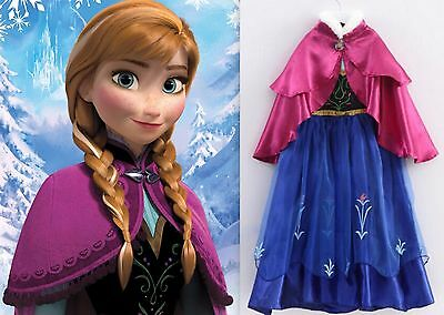 NEW Frozen ANNA Princess Dress Up Party Gown  Girls Costume Size 8/9 XL Elsa