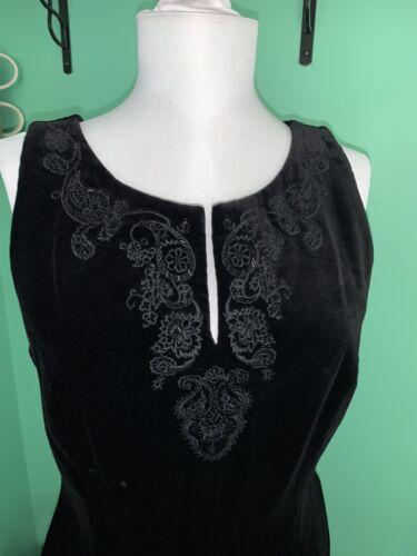 90s Laura Ashley Womens 10 Black Velvet Bead Ador… - image 1