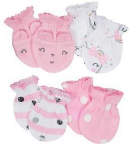 GERBER NEWBORN BABY GIRL'S 4-Pack Cotton Mittens - BEAR - Pink - NWT