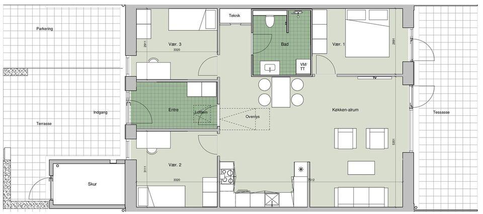 4100 vær. 4 lejlighed, m2 100, Arsenalet