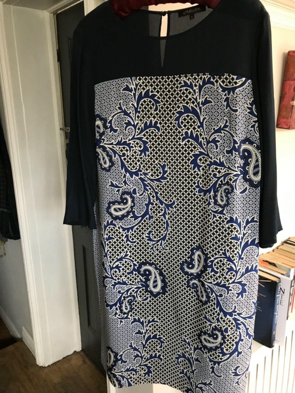 Jaeger Soie Bleu Marine Robe à fleurs-Taille 14