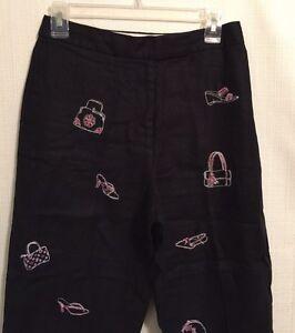 Deane & White Womens Sz P Black Linen Crop Pants Embroidered Shoes Purses