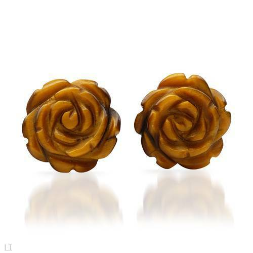 Lovely Floral Stud Earrings With Genuine Tiger/'s Eye Crafted in 10K Yellow Gold
