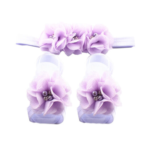 EG/_ NEWBORN BABY GIRLS LACE HAIR BAND BAREFOOT SANDALS FOOT FLOWER HEADBAND BL