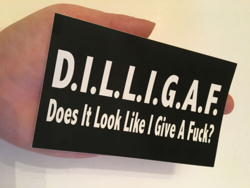 "DILLIGAF Does It Look Like I Give A F*** 3/""x5/"" b /& w Rectangular sticker"