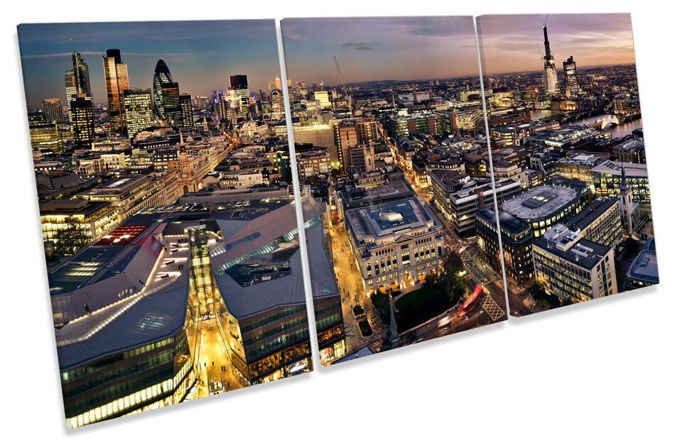 Skyline London Sunset Stadt  CANVAS Wand Kunst TREBLE Drucken Bild