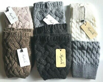 Responsible Faybox Crochet Cable Knit Leg Warmer Boot Topper Cuff Brown Grey Gray Cream New