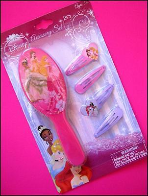 Disney PRINCESS 5 Piece Girls Brush & Hair Clip Set Pink Purple New Sealed