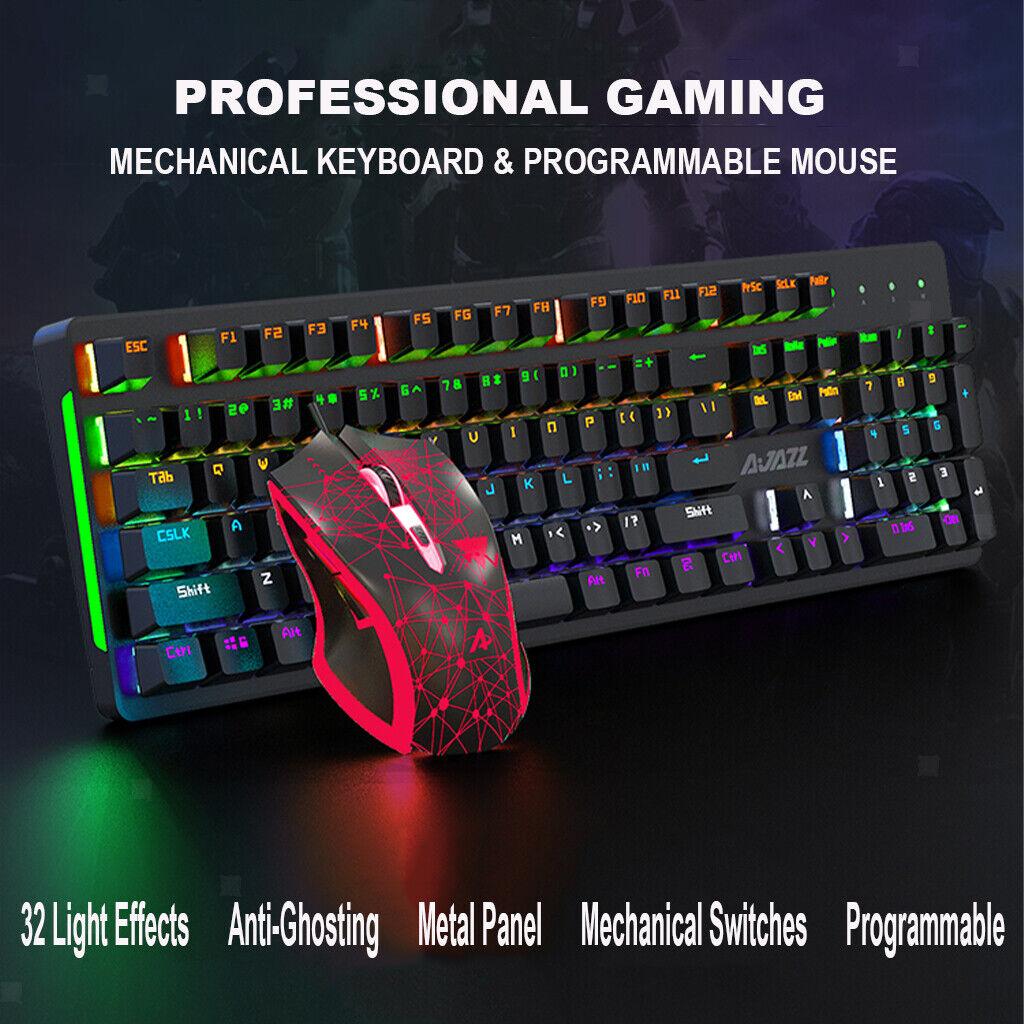 Gaming Mechanical Keyboard and Mouse Set Backlit N-Key Rollover 104 Keys 2400DPI