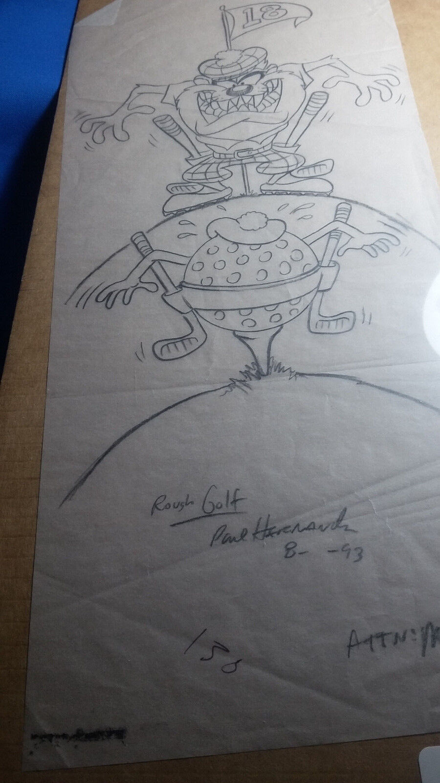Cartoon art signed by Artist Paul Hernandez  1993  One of a kind