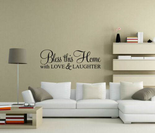 Bless this home with love /& laughter Wall Stickers Quote Decals Decor UK zx119