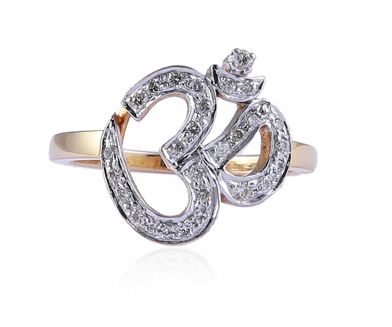 Pave 0.40 Cts Round Brilliant Cut Natural Diamonds  OM  Ring In Fine 18K gold