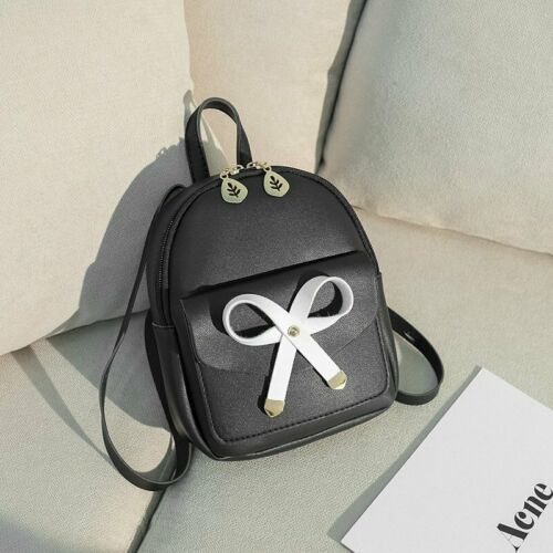 Women Girls Mini PU Leather Purse Small Backpack Cute Bow Backpack Shoulder Bag
