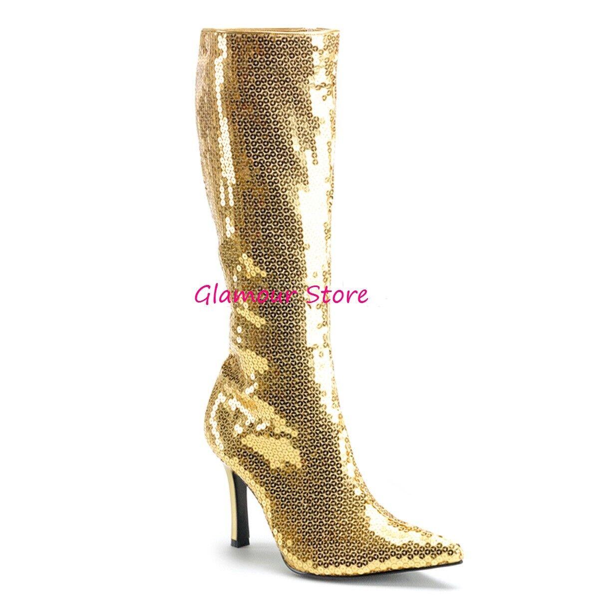 Sexy STIVALI dal PAILLETTES tacco 9,5 ORO dal STIVALI 36 al 42 zip scarpe fashion GLAMOUR 60253f