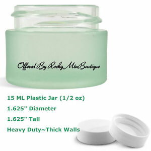 12~15ml PLASTIC JARS + WHITE LID~GREEN~craft diy sample skincare travel 1/2oz