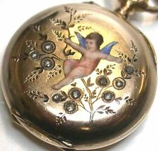 Vittoriano 14K Oro Giallo Diamante Orologio da taschino Champleve enameled cherub angel