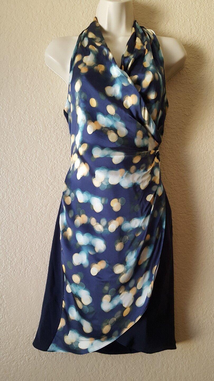 ELIZABETH And JAMES damen Halter Dress Asymmetrical Hem Silk Blau Größe XS