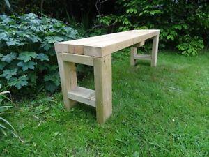Handmade wooden bench garden porch kitchen dining - Handmade wooden garden benches ...