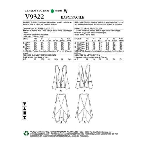 VOGUE SEWING PATTERN 9322 MISSES SZ 4-14 MARCY TILTON VESTS W// SHAPED HEMLINES