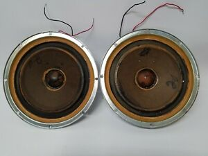 Pair-Of-Vintage-Working-10-Inch-KLH-Speakers-Woofers-With-Square-Magnet