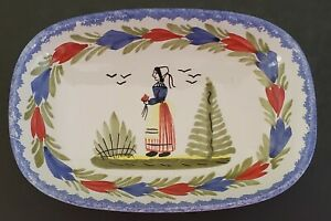 HB-Quimper-Breton-Woman-Hand-Painted-Oval-Dish-Made-In-France-Art-Pottery-7-034