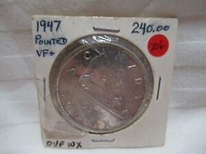 1947-POINTED-7-CANADA-SILVER-DOLLAR-VF