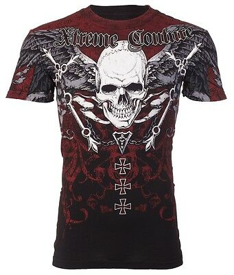Xtreme Couture AFFLICTION Mens T-Shirt SMASHED Skull Tattoo Biker UFC M-3XL $40