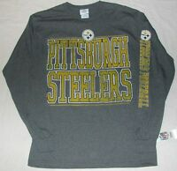 Pittsburgh Steelers Distressed Long Sleeve T Shirt Men's M L Xl 2x Gray
