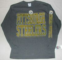 Pittsburgh Steelers Distressed Long Sleeve T Shirt Men's M L Xl 2x Gray