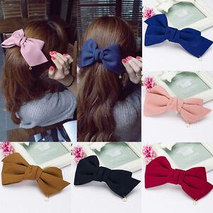 Suesse-Satin-Doppel-Bowknot-Haarspange-Kopfbedeckung-Bogen-Haar-Clips-Haarban-G0B3