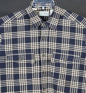 LL-Bean-Chamois-Cloth-Plaid-Shirt-Mens-L-Tall-Vtg-Made-USA-Black-Beige