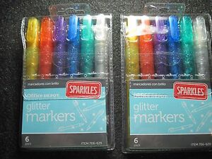 Glitter-Sparkles-Markers-TWO-Sets-with-6-Markers-each-NEW-in-Original-Package