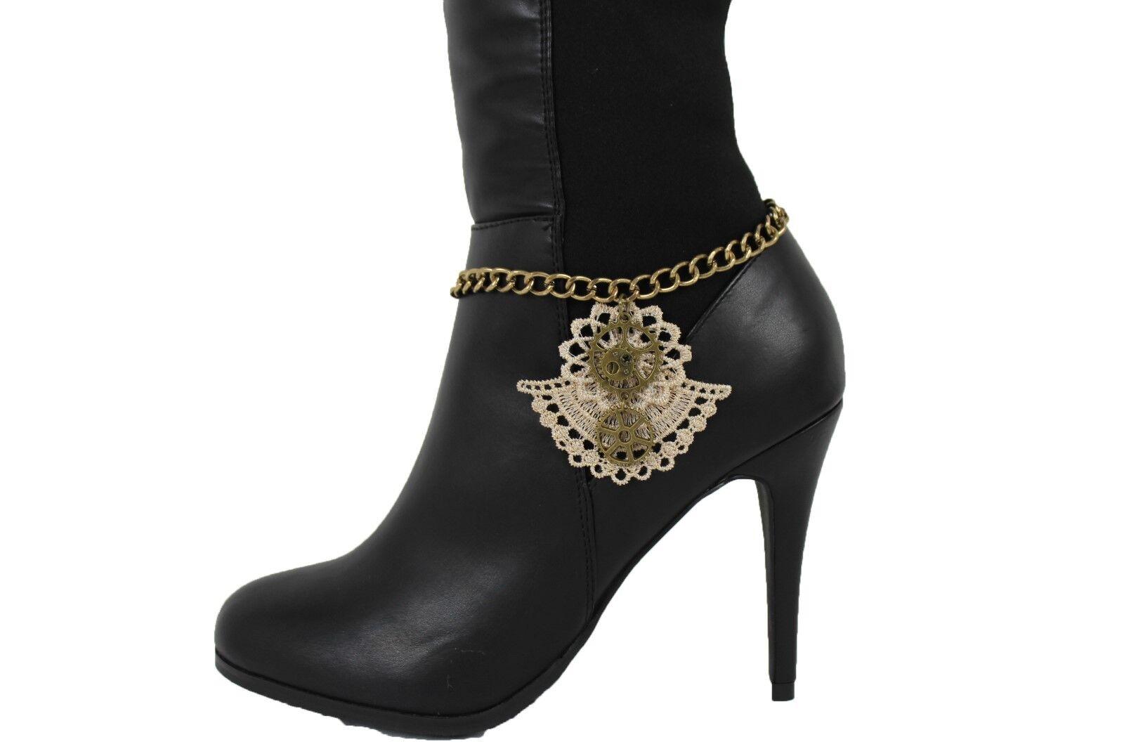 Hot Women Gold Anklet Chain Boot Beige Lace Steam Punk Shoe Clock Charm Bracelet
