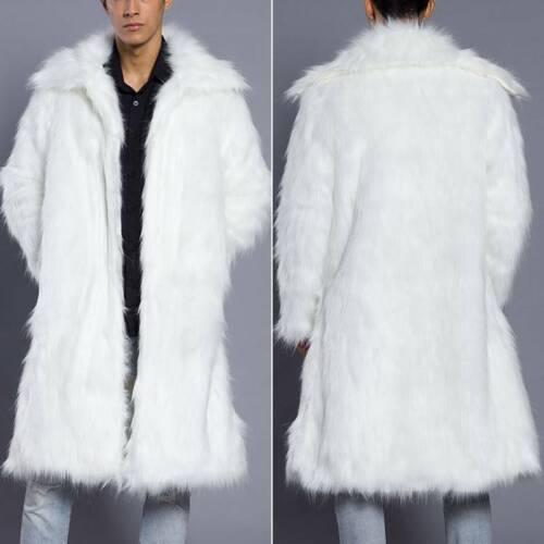 Men Luxury Fashion Faux Fur Fluffy Cardigans Winter Thick Overcoat Coat Jacket