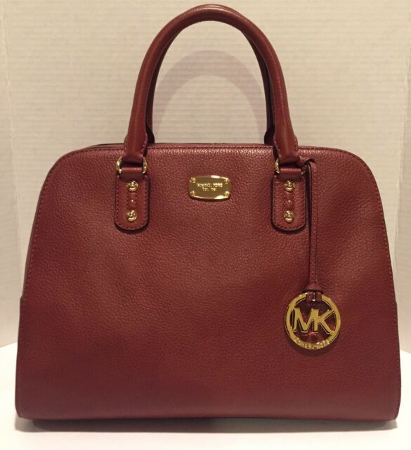 7077285915088d Michael Kors Sandrine Large Satchel Purse Handbag Bag Leather Brick Gold