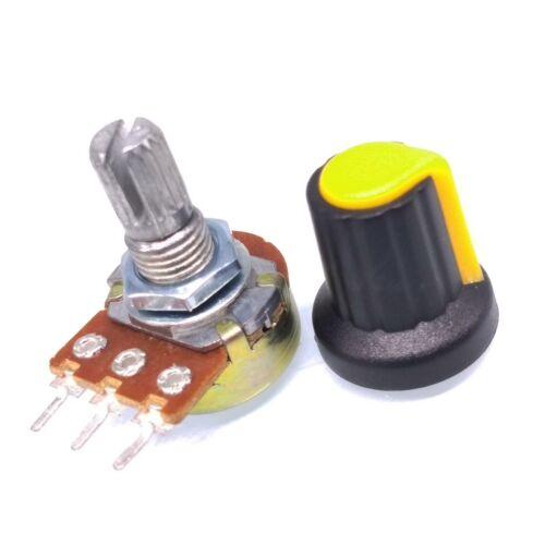 US Stock 10Units 1K B1K OHM Linear Taper Rotary Potentiometer POT Yellow Knob