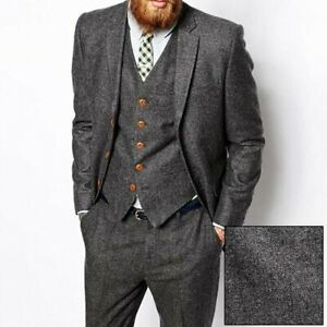 Men Gray Herringbone Tweed Suit Vintage Tuxedo Prom Party Wedding Suit Custom