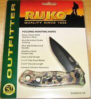 Ruko Folding Hunting Knife Ruk0075-cs W/pocket Clip