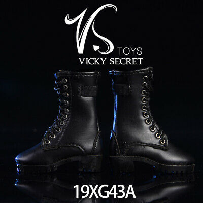 1//6 VSTOYS 19XG43A Black Female Leather Zipper Boots Hollow Shoes Model Toy