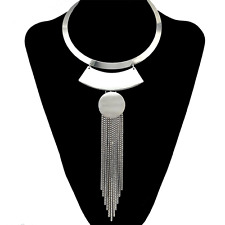 Fashion Gold Silver Necklace Choker Bib Collar Long Box Chain Tassel Pendant Geo