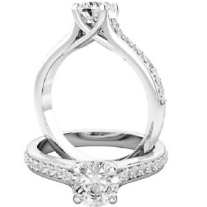 0.70 Ct Round Cut Moissanite Engagement Superb Rings 18K Real White Gold Size 8