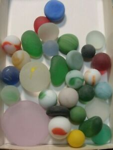 30-Vintage-Glass-Sea-Style-Beach-Marbles-Pcs-Flats-Pretty-Group-Free-Ship