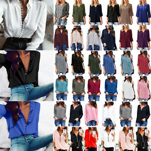 Plus-Size-Women-039-s-V-Neck-Long-Sleeve-Loose-Blouse-Casual-Buttons-Tops-T-Shirts